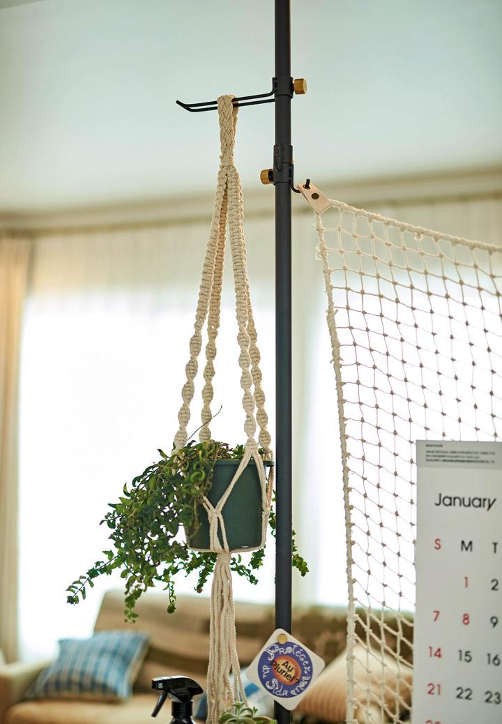 マクラメの植物を吊るした写真