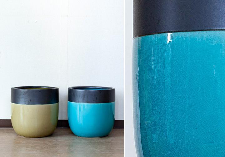 ツートンカラーの陶器鉢